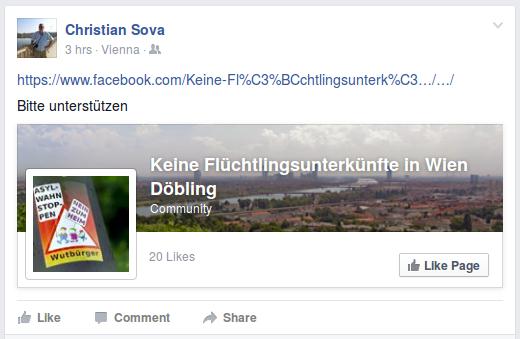 Kurze Zeit später entsteht eine Facebook-Seite + Unterstützungsaufruf